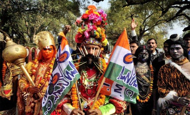 Trinamool Congress candidate Rajendra Tiwari on his way to file his nomination