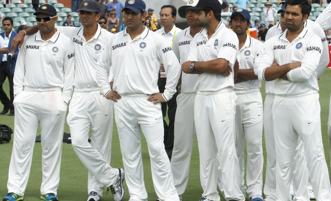 Indian team members attend the presentations after Australia won the fourth cricket Test
