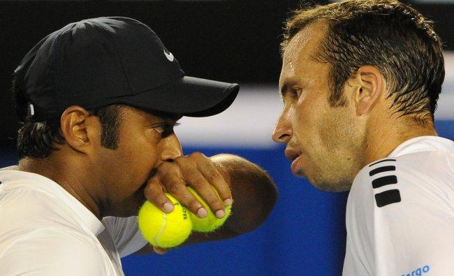 Leander Paes and Radek Stepanek at the Australian Open tennis tournament