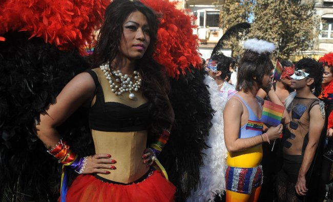 Indian supporters of the lesbian, gay, bisexual and transgender community