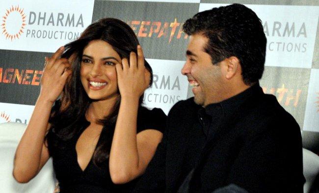 Priyanka Chopra and producer Karan Johar promote their movie Agneepath