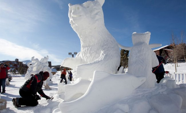 A participant at the Breckenridge International Snow Sculpture Championships