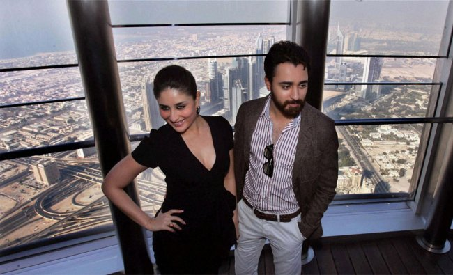 Actors Kareena Kapoor and Imran Khan pose at 123rd floor of Burj Khalifa