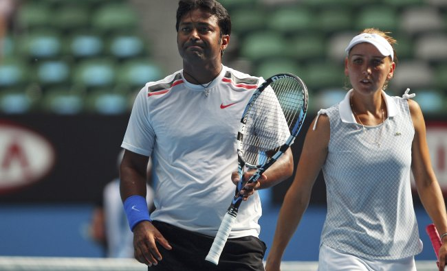 Leander Paes and Elena Vesnina in the mixed doubles final at the Australian Open