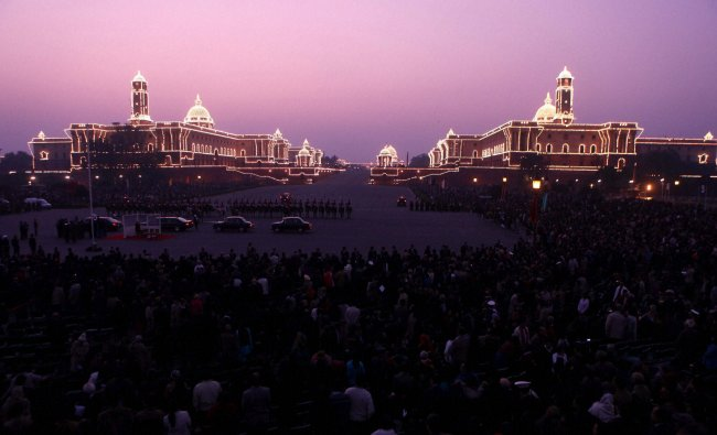 Raisina Hill illuminated during the Beating Retreat ceremony