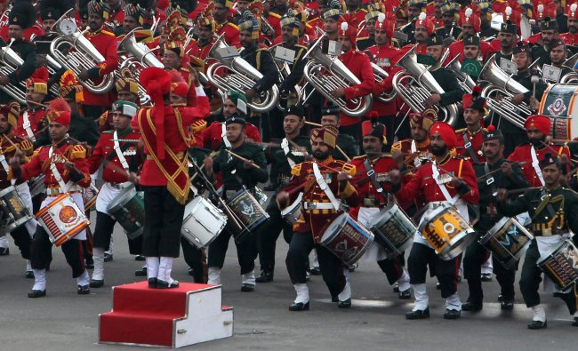 Army, navy and air force marching bands play at Vijay Chowk