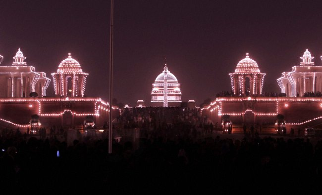 Illuminated Raisina Hill during Beating Retreat ceremony