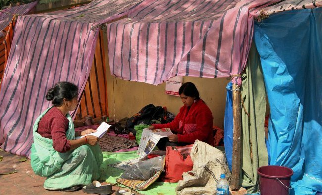 Relatives of children stay at a temporary shelter at B C Roy Children\'s Hospital