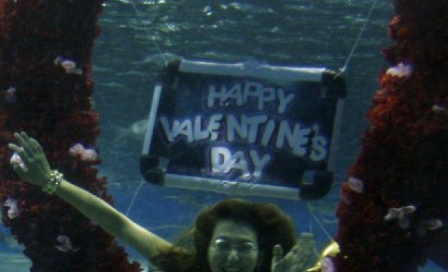 A diver portraying a mermaid dives into a bunch of flowers during a Valentines presentation