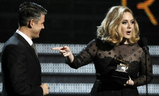 Adele during the 54th annual Grammy Awards LA