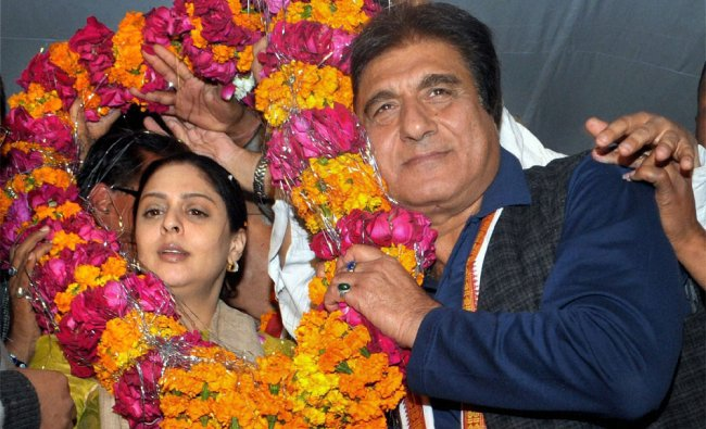 Bollywood actors and Congress leaders Raj Babbar and Nagma during an election campaign meeting