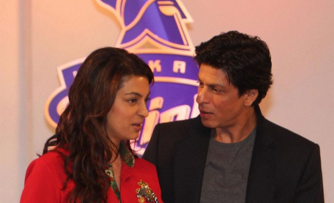 Kolkata Knight Riders owners, Juhi Chawla and Shahrukh Khan at the unveiling of new logo
