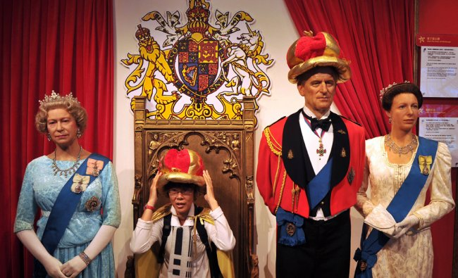 The wax figure of the British royal family