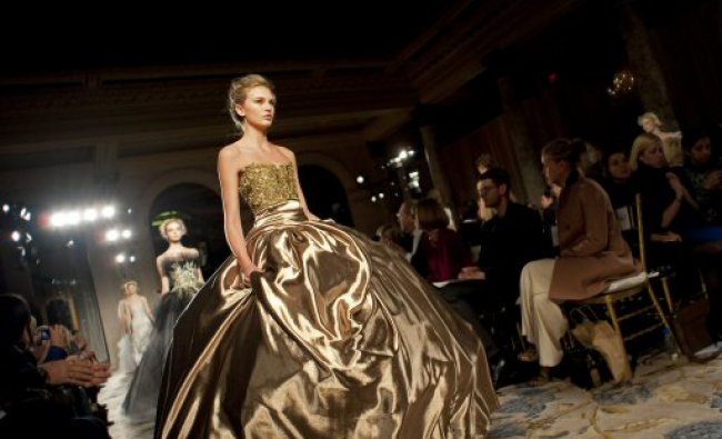Fall 2012 fashion from Marchesa is modeled during Fashion Week