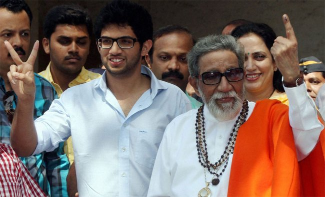 Shiv Sena supremo Bal Thackeray with grandson Aditya after casting votes for corporation elections