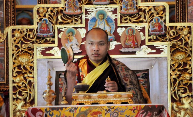 17th Karmapa Ogyen Trinley Dorjee at a prayer session at Tergar Monastery in Gaya