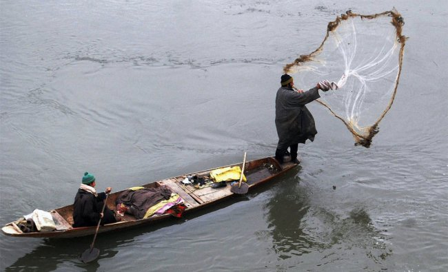 A fisherman casts his net at Dal Lake in Srinagar