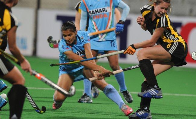 Women\'s hockey match between India and Ukraine