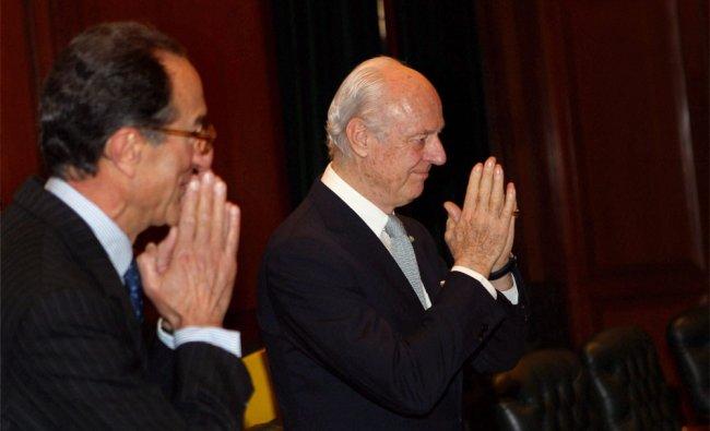 Italian Deputy Foreign Minister Staffan De Mistura with ambassador Giacomo Sanfelice Di Monteforte