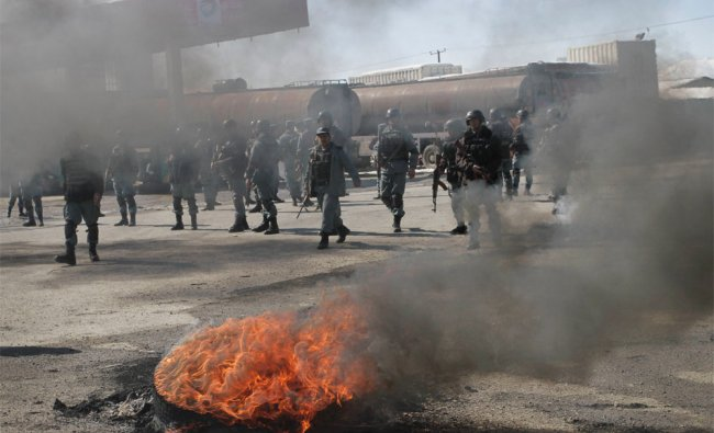 An anti-US demonstration in Kabul, Afghanistan