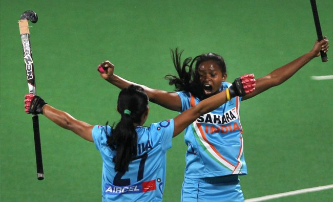 India\'s captain Asunta Lakra celebrating after scoring a goal against South Africa