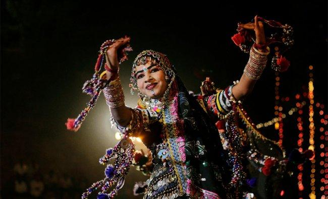A Rajasthani dancer performs during the Basant Utsav celebrations at Gandhinagar