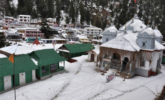 A view of snow-covered Gangotri