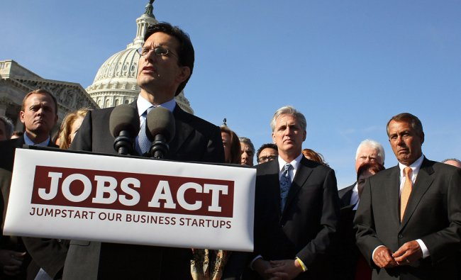 John Boehner and Eric Cantor participate in a news conference on the Jobs Act ...