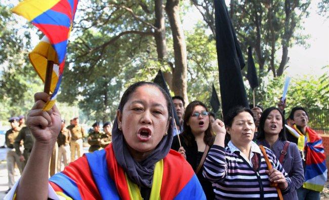 Activists of Delhi Tibetan People\'s Solidarity Movement...