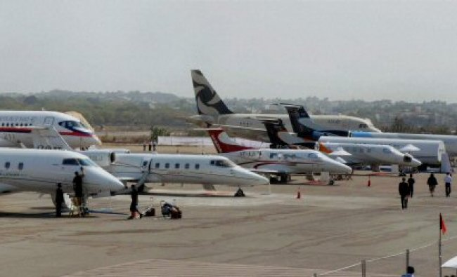 Various aircrafts displayed at the India Aviation 2012...