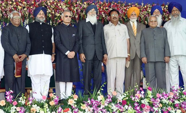 Punjab Chief Minister Parkash Singh Badal with cabinet ministers...