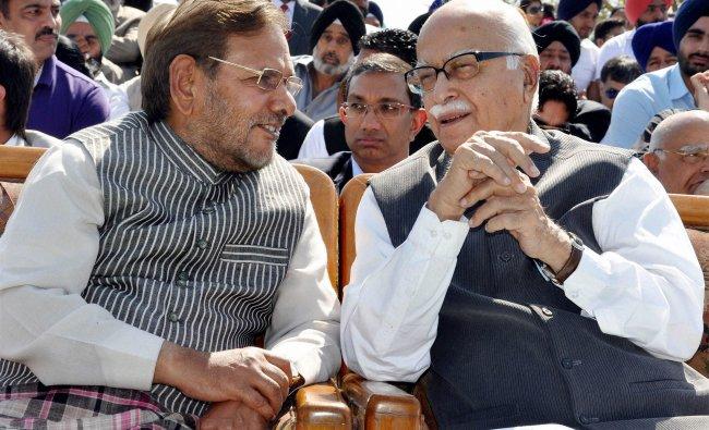 L. K. Advani and Janata Dal (U) President Sharad Yadav during swearing-in...