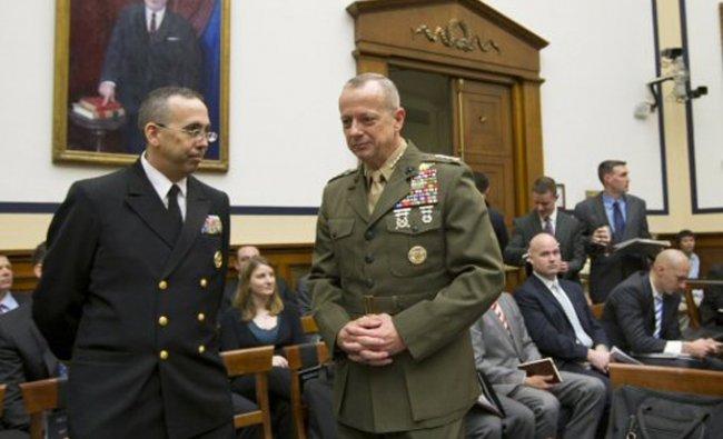 Marine Gen. John Allen, the top U.S. commander in Afghanistan, right, arrives on Capitol Hill