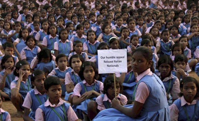 Children at a mass prayer program in Orissa, to release the Italians abducted by Maoists...