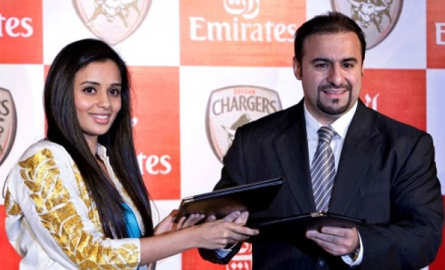 Deccan Chargers\' co-owner Gayatri Reddy, left, and Emirates India and Nepal VP Orhan Abbas