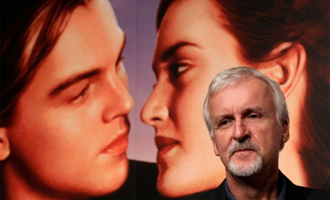 James Cameron attends a press conference to promote his 3-D version of \