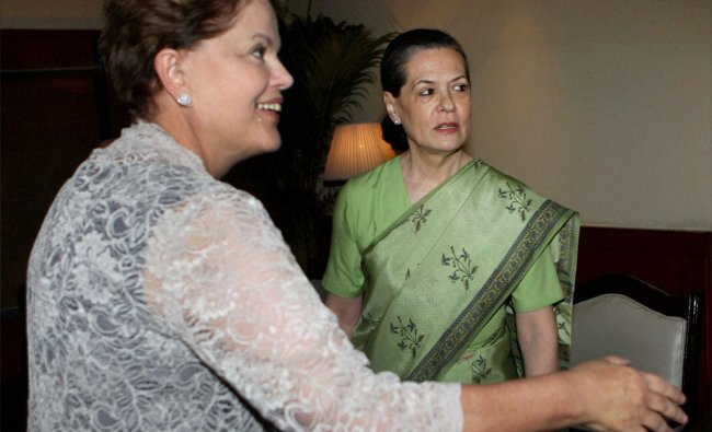 Brazilian President Dilma Rousseff with UPA Chairperson Sonia Gandhi