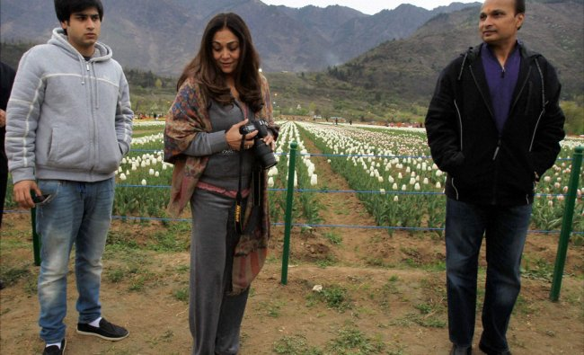 ADAG Chairman Anil Ambani with his family during a visit to the Tulip garden in Srinagar