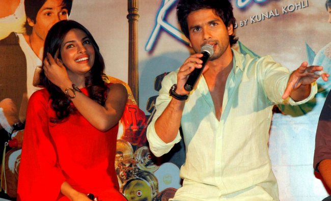 Bollywood actors Shahid Kapoor and Priyanka Chopra promote their upcoming film