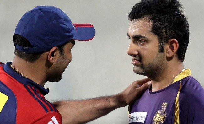 DD captain V. Sehwag and KKR skipper Gautam Gambhir after their IPL match