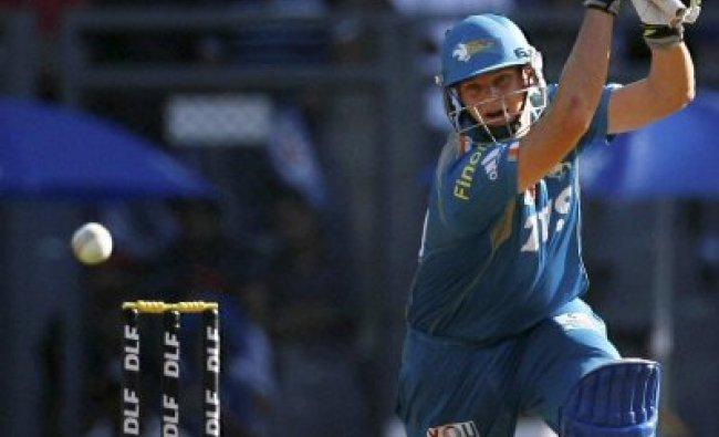 Pune Warriors batsman Steve Smith plays a shot...