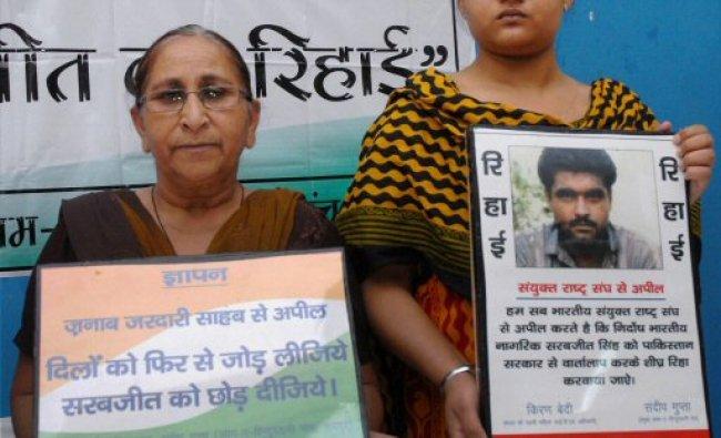 Dalbir Kaur, sister of Sarabjit Singh, an Indian lodged...