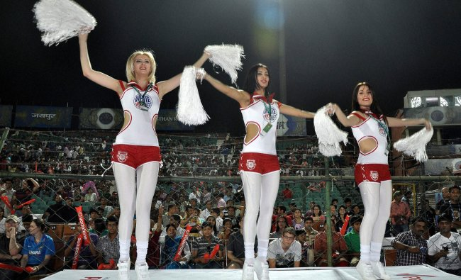 Kings XI Punjab\'s cheerleaders perform during the IPL-5 cricket match against Rajasthan Royals