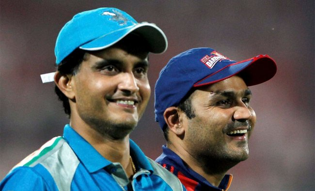 Delhi Daredevils\' Virender Sehwag and Pune Warriors\' Sourav Ganguly after their IPL-5 match
