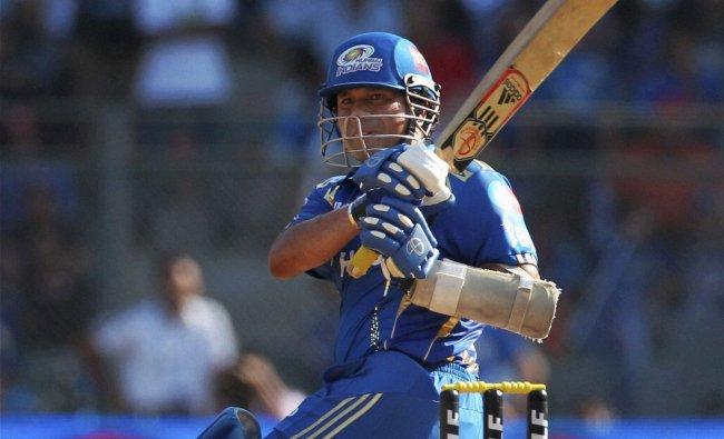 Mumbai Indians Sachin Tendulkar plays a shot against Kings XI Punjab during the IPL-5 match