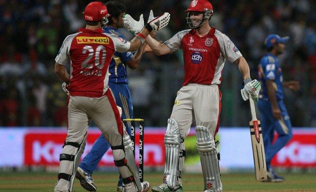Kings XI Punjabs David Miller and Shaun Marsh celebrate after their victory over Mumbai Indians