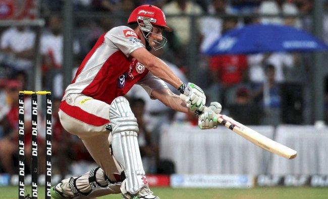 Kings XI Punjab\'s Shaun Marsh plays a shot against Mumbai Indian during their IPL-5 match