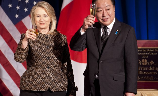 US Secretary of State Hillary Rodham Clinton with Japanese Prime Minister Yoshihiko Noda