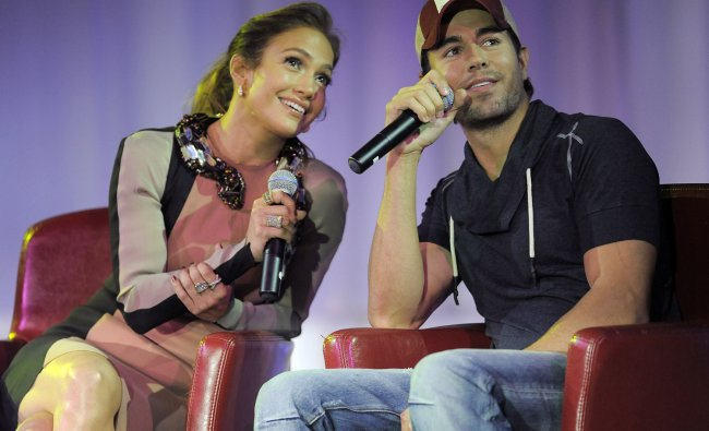 Jennifer Lopez and Enrique Iglesias after the announcement of their co-headlining summer tour