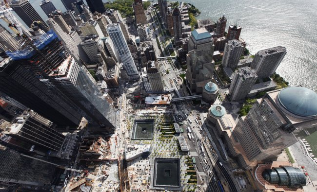 An aerial view shows the 9/11 Memorial from the 90th story of One World Trade Center